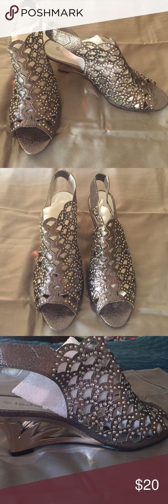 Pewter Sandals New never worn pewter high heel Sandal JohnFashion Shoes Sandals
