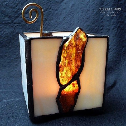 GIFT. Amber candle-lantern hand made // PREZENT. Bursztynowy świecznik-lampion hand made