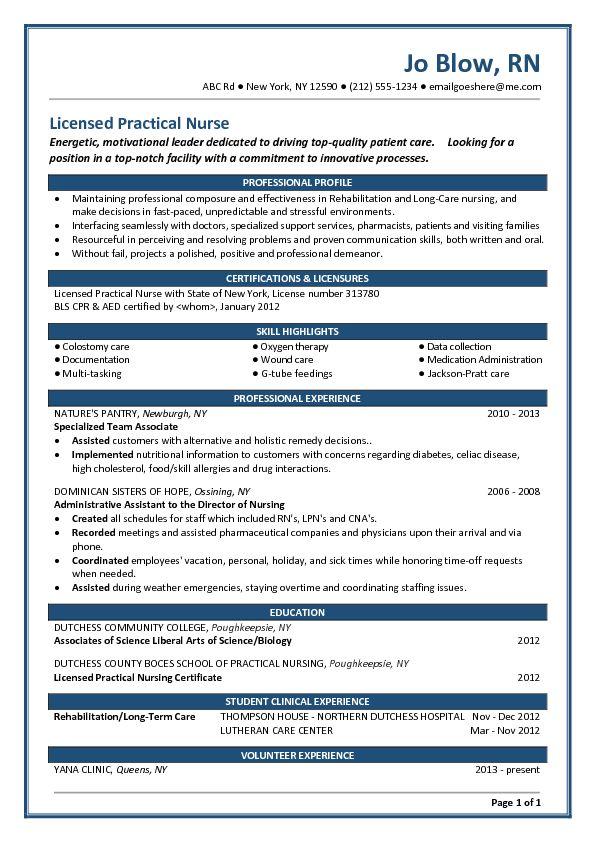 director of nursing resume graduate nurse resume example nursing resume new grad nurse - Lpn Objective For Resume