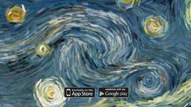 """A try to visualize the flow of the famous painting """"Starry Night"""" of Vincent Van Gogh. The user can interact with the animation. Also, the sound responds to the flow. Made with openframeworks.  Available on the app-store: itunes.apple.com/us/app/starry-night-interactive-animation/id511943282 Available on google-play: https://play.google.com/store/apps/details?id=com.artof01.starrynight"""