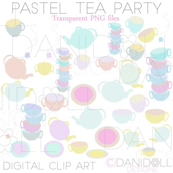 Cute Pastel Tea Party Clip Art - 56 Elements Cups Mugs Plates & Tea Pots by danidolldesignsx