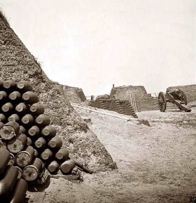 Parapet of Fort Sumter, with stacks of ammunition. It was taken in 1865 by Matthew Brady.