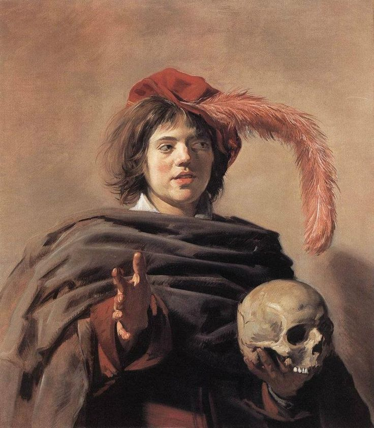 Young Man with a Skull by Frans Hals. In this painting, I found that the golden section runs exactly through the upward pointing tip of left collar triangle, which is the lightest light area of painting, with a contrasting dark just above it. This line also runs along left side of face and along left thumb and hand. Conversely, when switched to right side of painting, the section runs along left side of skull.