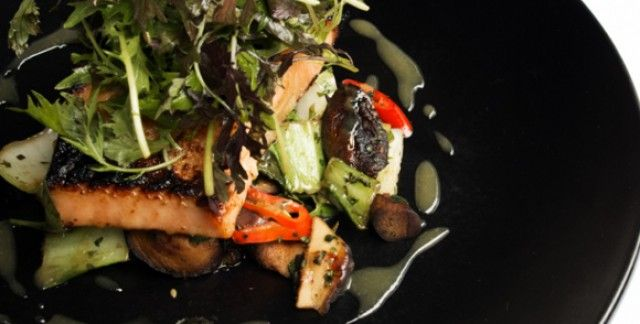 Fillet of organic salmon with raw shaved vegetable and avocado salad with ginger and seasame dressing | Caprice Recipes