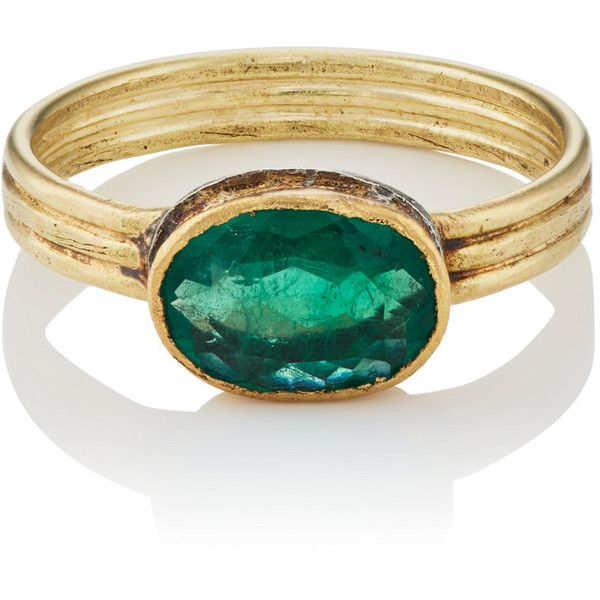 Judy Geib Women's Colombian Emerald Ring (€2.005) ❤ liked on Polyvore featuring jewelry, rings, no color, handcrafted jewellery, emerald ring, bezel set emerald ring, bezel setting ring and engraved rings