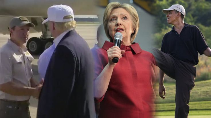 Trump Plays the Role of President in Louisiana. Hillary calls it in. Obama, well, business as usual, on the golf course while thousands are suffering.