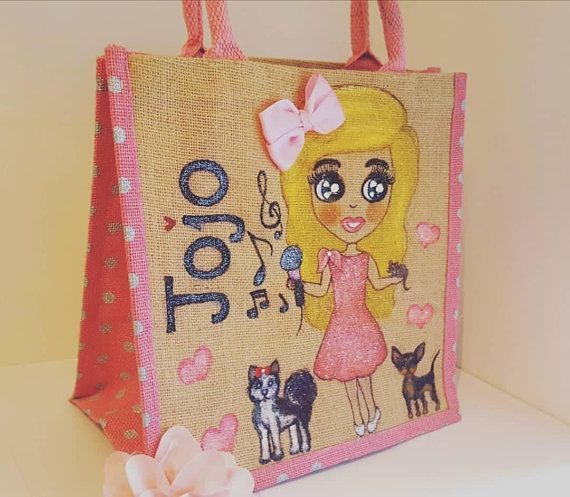 #Personalised jute #bag pink polka dot #chihuahua #husky #singing #music  https://www.etsy.com/uk/listing/262240232/create-your-custom-personalised-tote https://www.etsy.com/uk/listing/262240232/create-your-custom-personalised-tote