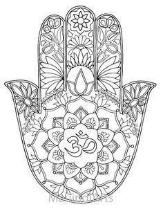 Hamsa Om - Hand Drawn Adult Coloring Page Print