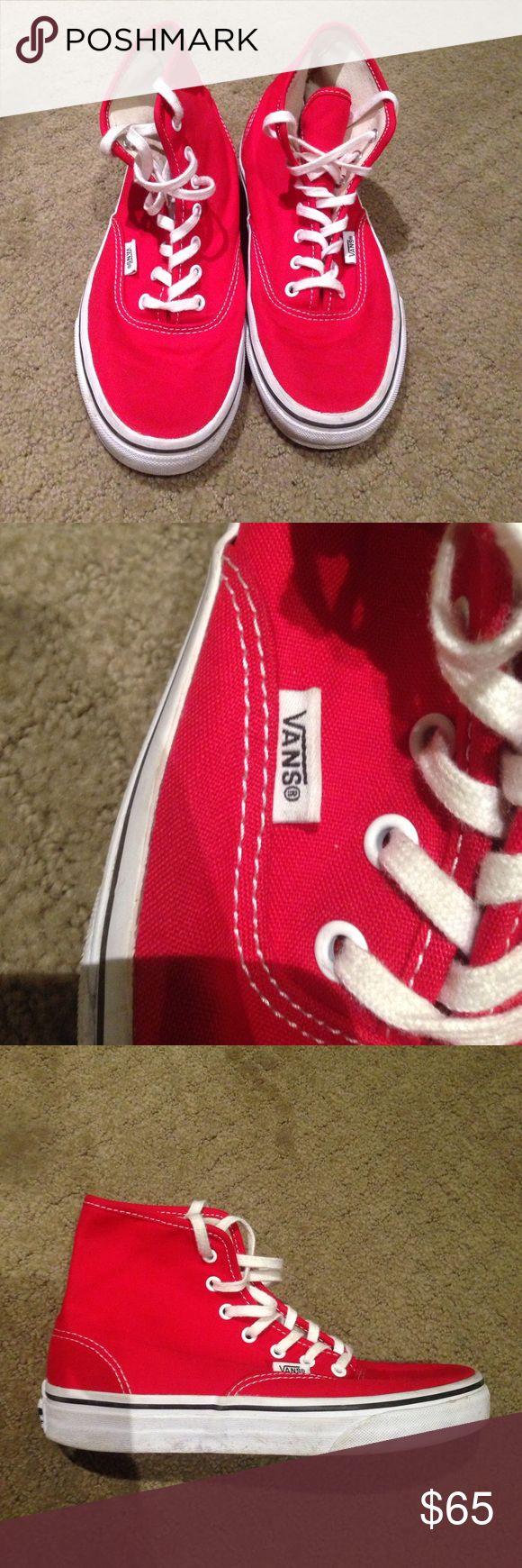 Red high top vans Red high top vans. Worn once. Good condition. Men's 5.5.  Women's 7. Vans Shoes Sneakers