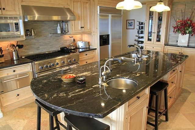 Titanium granite countertops home pinterest i am - Black granite countertops with cream cabinets ...