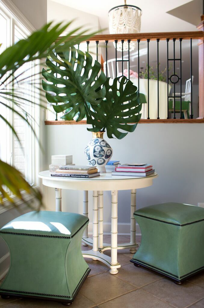 Benches with nailhead detail, Anthrpologie vase with oversized greenery — JANA BEK DESIGN