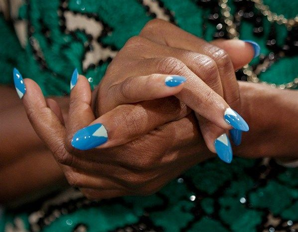 Tracy Reese triangle half-moons on long pointed nails - Get the look: celebrity nail art - Exclusives from MSN Lifestyle