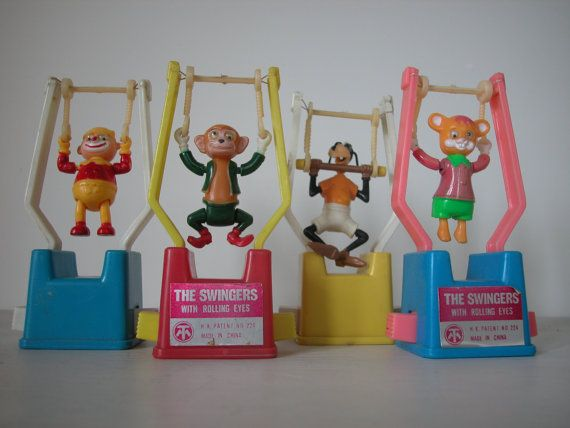 Trapeze PUSH TOYS 1970s. The simplest toy entertained us for hours...someone gave me one of these when i was in the hospital after having my tonsils and adenoids removed