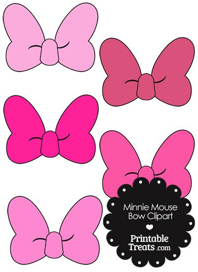 Minnie Mouse Bow Clipart in Shades of Pink from PrintableTreats.com