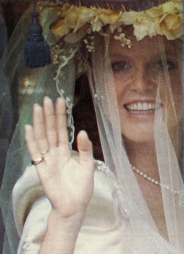 Sarah Ferguson on her way to her wedding at Westminster Abbey July 23, 1986