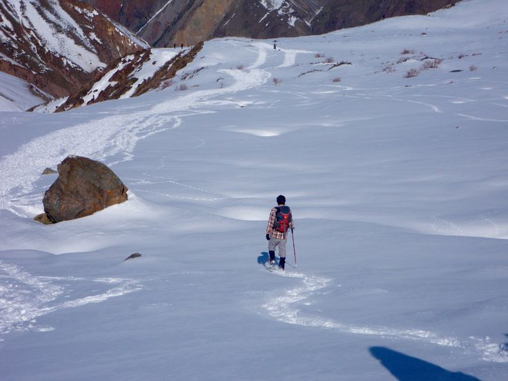 Snow shoeing in the Andes, Chile. Day tour with Ecochile travel