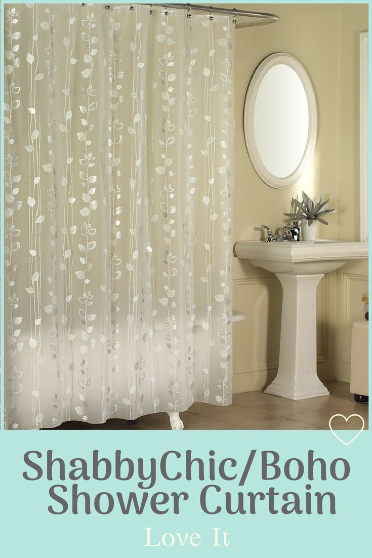Bring Botanical Beauty To Your Bathroom With This Ivy Inspired Sheer Shower Curt Vinyl Shower Curtains Patterned Shower Curtain Shower Curtains And Accessories