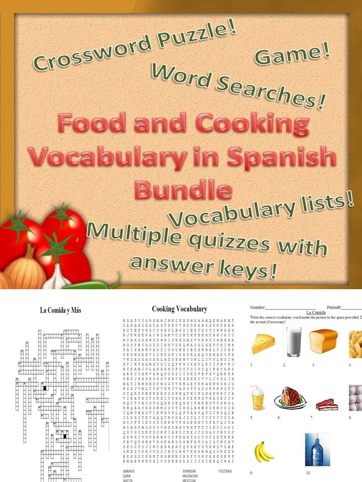 Variety of materials to help you teach food and cooking vocabulary in Spanish- vocab. lists, games, worksheets, easy to grade quizzes, and answer keys!