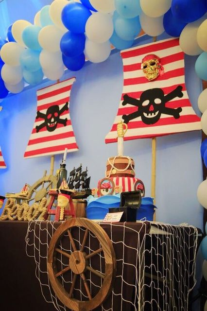 Cool decorations at a Pirates Birthday Party! See more party ideas at CatchMyParty.com!
