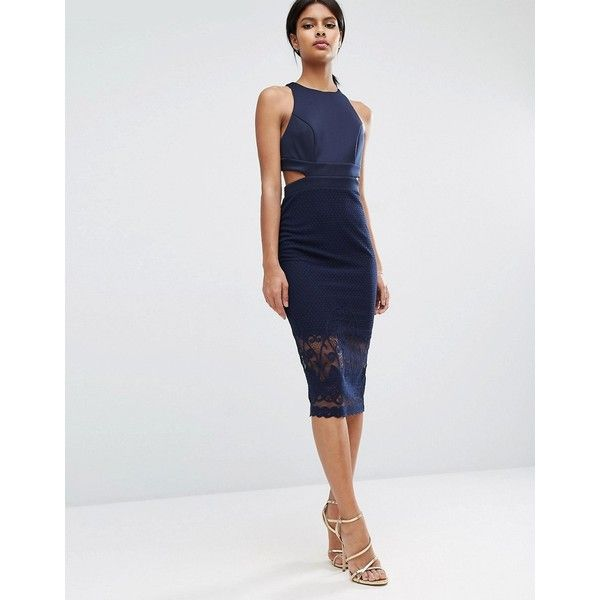 ASOS Scuba Cutout Back Lace Pencil Midi Dress ($65) ❤ liked on Polyvore featuring dresses, navy, midi dress, bodycon dress, navy blue bodycon dress, navy dress and pencil dress