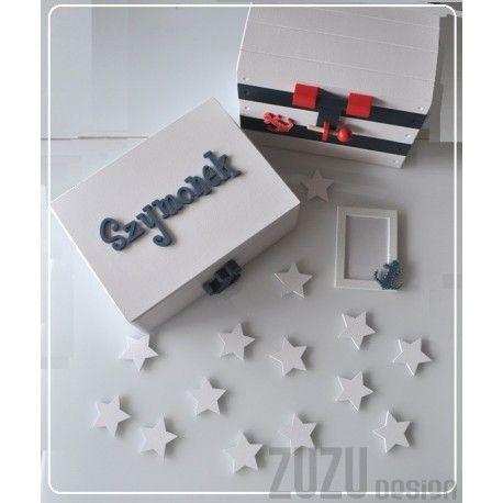 Kufer na zabawki oraz skrzynia na pamiątki dla Szymonka, mini gwiazdki, ramka na zdjęcia