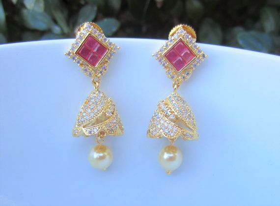 On Sale Ruby and Cubic Zirconium Jhumkas South Indian by Alankaar