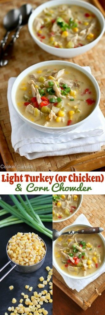 Light Turkey (or Chicken) and Corn Chowder Recipe...218 calories and 6 Weight Watchers PP   cookincanuck.com #healthy #soup