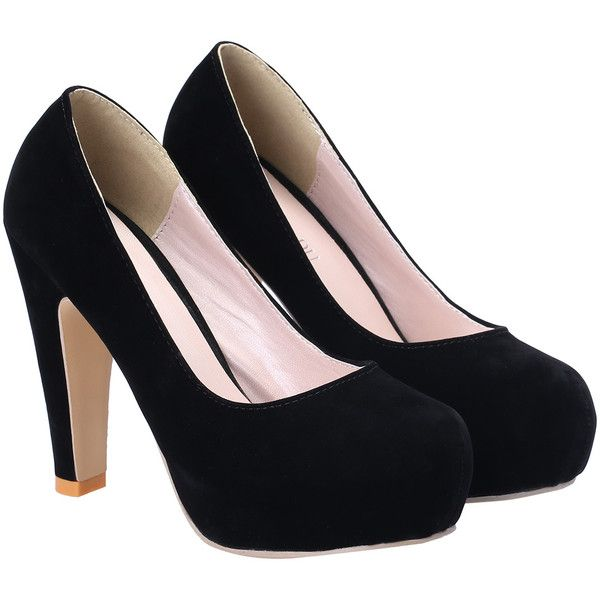 SheIn(sheinside) Black High Heel Hidden Platform Pumps ($25) ❤ liked on Polyvore featuring shoes, pumps, heels, chaussure, sapatos, black, hidden platform shoes, heels & pumps, high heel pumps and black round toe pumps