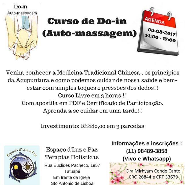 Espaço d'Luz e Paz Terapias Holísticas no Tatuapé: Curso Livre de Auto-massagem (Do-in)