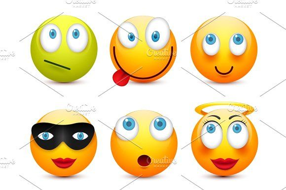 Smiley with blue eyes,emoticon set. Yellow face with emotions. Facial expression. 3d realistic emoji. Sad,happy,angry faces.Funny cartoon character.Mood.Vector illustration. by 32pixels on @creativemarket