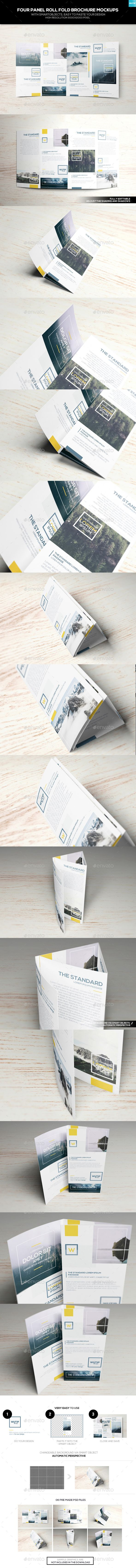 Four Panel Roll Fold Brochure Mockups. Download here: https://graphicriver.net/item/four-panel-roll-fold-brochure-mockups/17374690?ref=ksioks