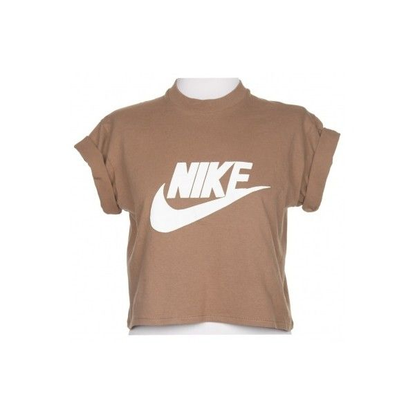 Rokit Recycled Brown Nike Cropped T-Shirt - Vintage clothing from... ❤ liked on Polyvore featuring tops, t-shirts, shirts, crop tops, crop top, crop t shirt, beige shirt, beige t shirt and brown shirt