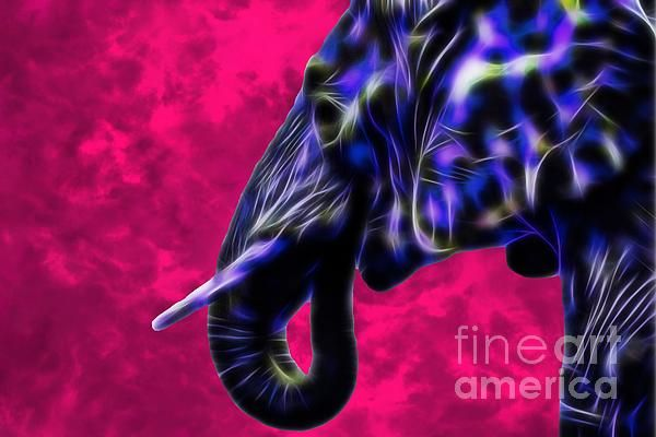 Blue fractal elephant with pink background. By Tracey Lee Art Designs. Available as prints and merchandise.