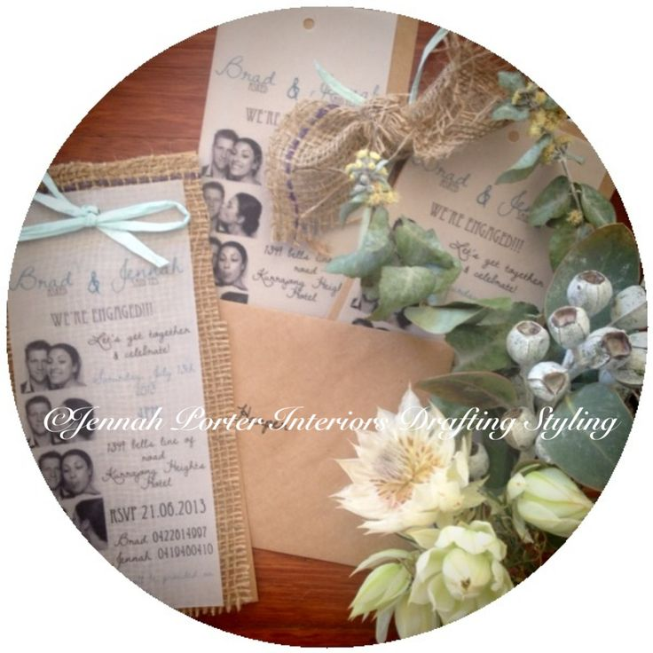 Engagement concept. Hand made by Jennah Porter Interiors Drafting Styling. Rustic Australian Native