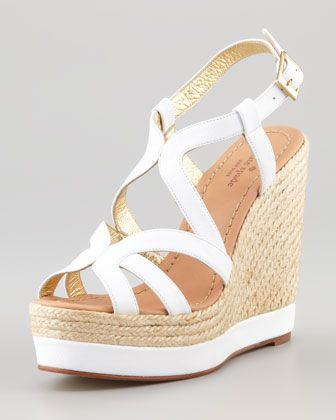 $298 kate spade new york liv tumbled calfskin espadrille wedge, white - Neiman Marcus