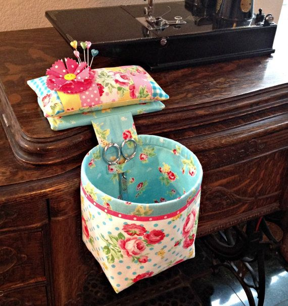Handmade Sew In Style Thread Catcher with Detachable Pincushion