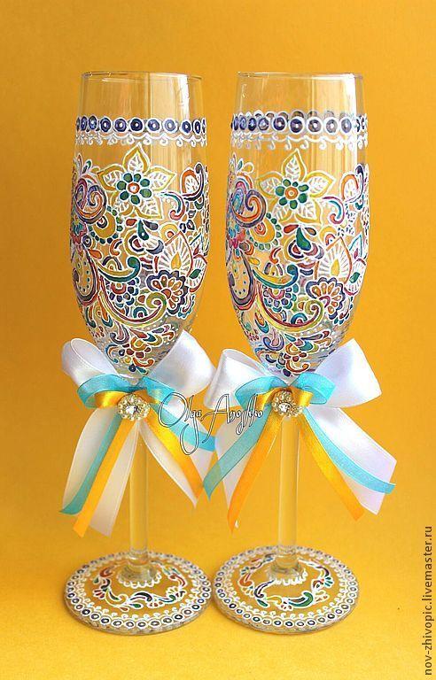 """Купить Свадебные бокалы """"Прихоть Невесты"""". Роспись по стеклу - бокалы для свадьбы, бокалы для молодоженов, Бокалы"""
