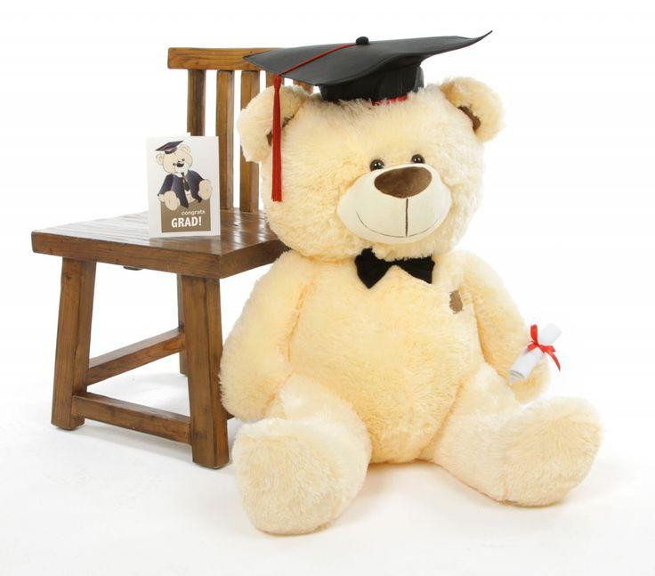 Giant Teddy  - BooBoo G Shags Vanilla Graduation Teddy Bear with Cap and Diploma 35in, $89.99 (http://www.giantteddy.com/booboo-g-shags-vanilla-graduation-teddy-bear-with-cap-and-diploma-35in/)