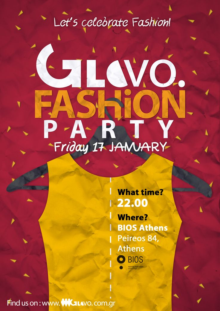 Poster created for GloVo's Fashion Party celebrating our two fashion events: Bridal Fashion Week & Eco Fashion Event held in Athens.