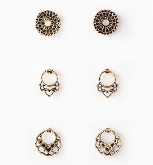 Boucles d oreilles (lot de 3) or - Promod