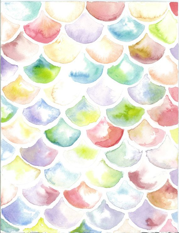 Mermaid scale watercolor painting print 8x10 by SweetnSandy