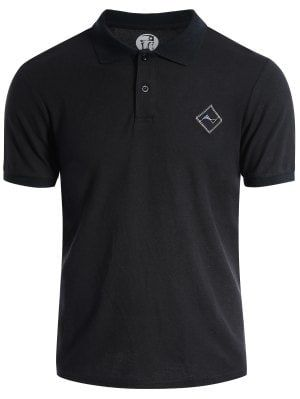 Men Embroidered Short Sleeve Polo T Shirt - Black L