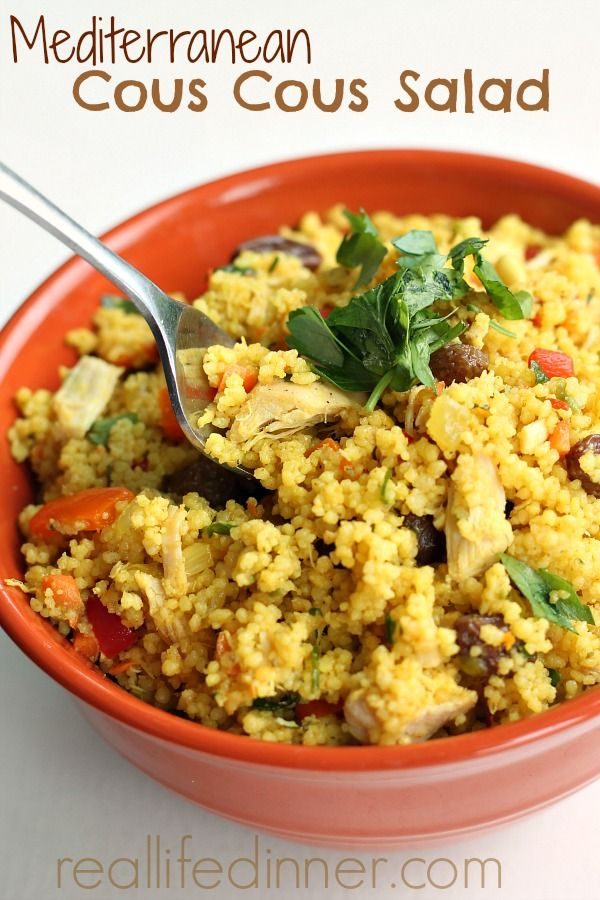 Perfect is the only way to describe this Mediterranean Couscous Salad. You and everyone you make it for will LOVE it. I begged for the recipe the first time I tasted it. Add chicken to make it a meal.