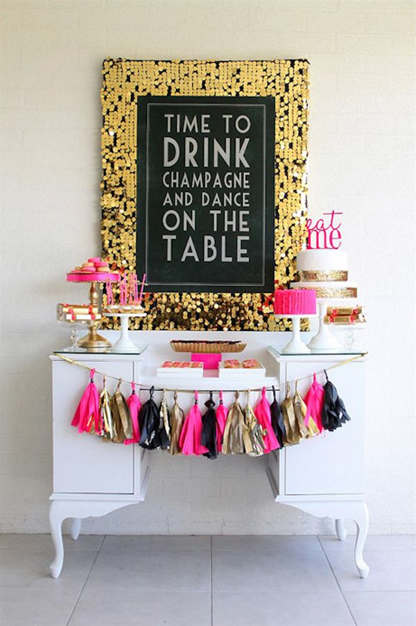 This is a 40th bday party a party planner threw for herself. It's pink, black and gold themed complete with a champagne bar and sweet goodies!!! The COOLEST ever!!!