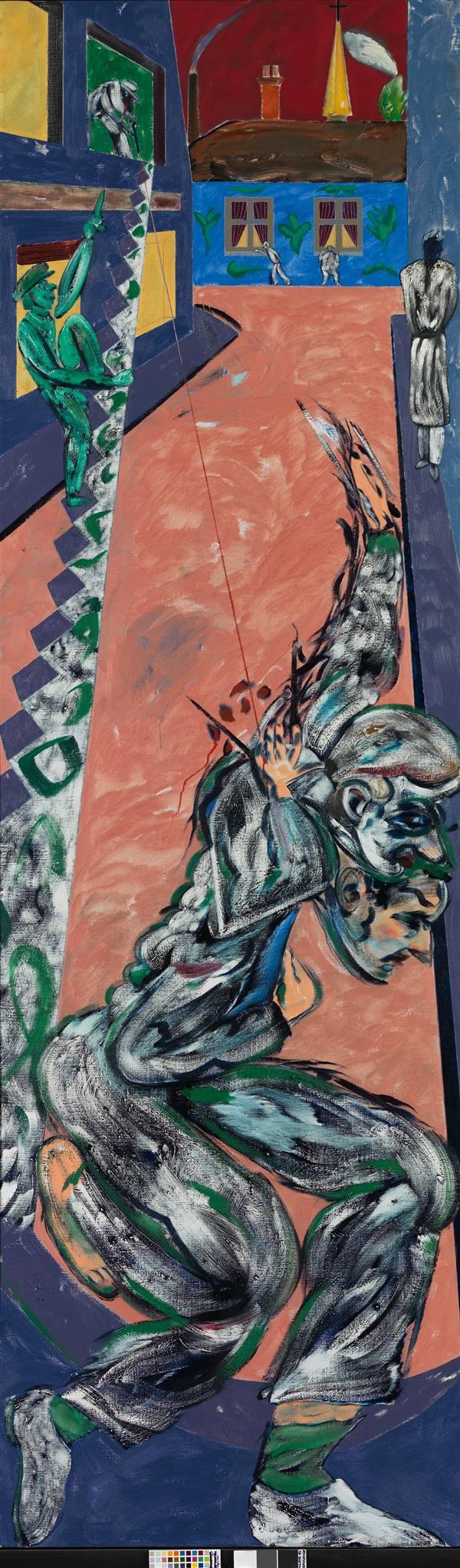 A PROMINENT 20TH CENTURY EUROPEAN COLLECTION December 8th R.B. Kitaj (1932-2007) The Sniper, 1987 Huile sur toile 305 x 91,5 cm Estimation : € 50,000-70,000