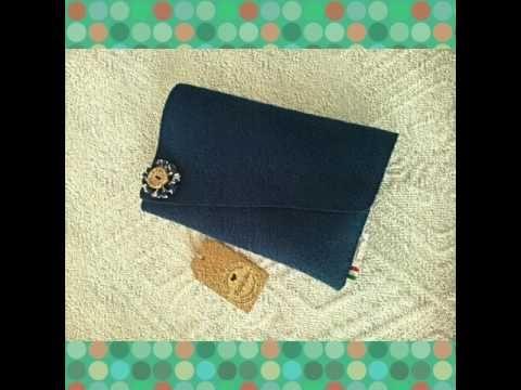 Handmade Bag and clutch -Blue Danube Set - in felt