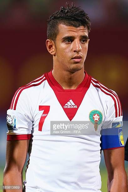Nabil Jaadi of Morocco prior to the FIFA U17 World Cup UAE 2013 Group C match between Morocco and Panama at Sharjah Stadium on October 24 2013 in...
