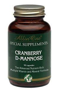 All in One Cranberry D-Mannose Capsules Blaas 90Caps  All in One Cranberry D-Mannose. bevat Cranberry D-Mannose en Vitamine C. Cranberry wordt ook wel veenbes genoemd en komt oorspronkelijk uit Noord Amerika. Deze rode bes met zure smaak bevat van nature een aantal organische zuren. D-Mannose is een soort suiker die van nature in kleine hoeveelheden voorkomt in planten en vruchten. Vitamine C ondersteunt het immuunsysteem en zorgt zo mede voor een goede weerstand. Gebruik: Volwassenen: 3 x…