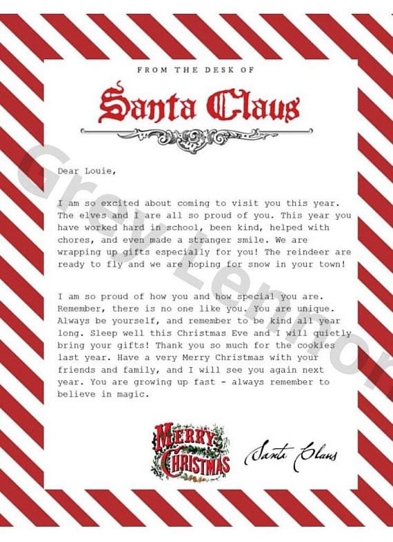 Fully Editable Christmas Letter From Santa Printable Great For Elf To Bring Vintage Typewriter