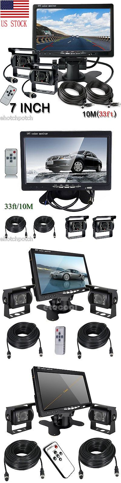 Rear View Monitors Cams and Kits: 2 X Wired Ir Night Vision Rear Backup Camera System + 7 Monitor For Rv Truck -> BUY IT NOW ONLY: $89.98 on eBay!